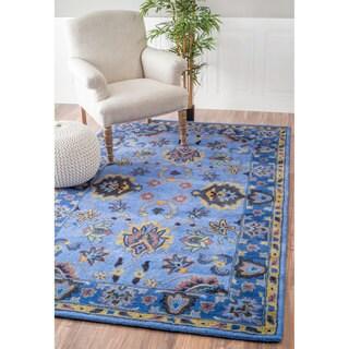 nuLOOM Handmade Overdyed Persian Wool Blue Rug (5' x 8')