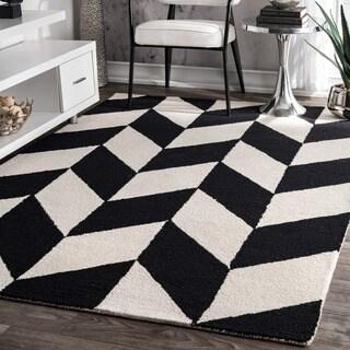 nuLOOM Handmade Mod Tiles Wool Black and White Rug (5' x 8') - 5' x 8'