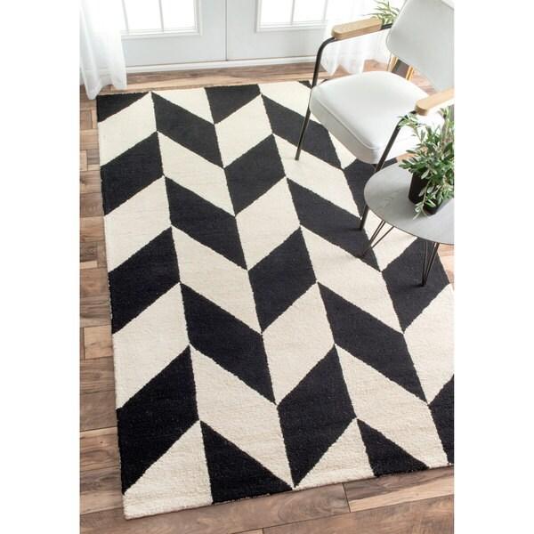 Nuloom Black And White Rug: NuLOOM Handmade Mod Tiles Wool Black And White Rug (5' X 8