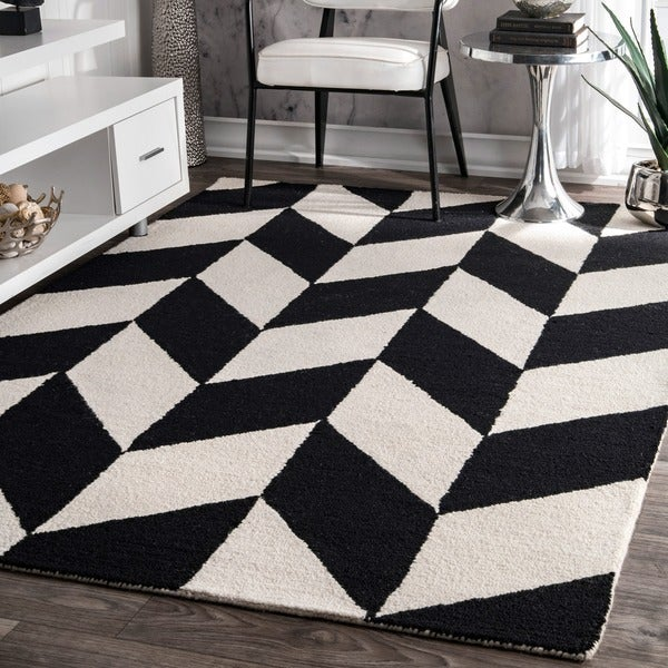 Nuloom Handmade Mod Tiles Wool Black And White Rug 7 6 X