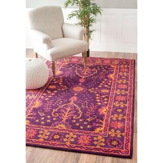 nuLOOM Handmade Floral Persian Wool Purple Rug (7'6 x 9'6)
