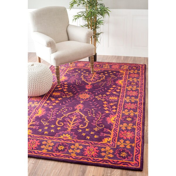 6 X9 Handmade Persian Wool Silk Area Rug Oriental Design: Shop NuLOOM Handmade Floral Persian Wool Purple Rug (7'6 X