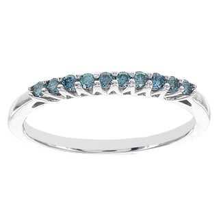 H Star Sterling Silver 1/5ct Blue Diamond Stackable Ring