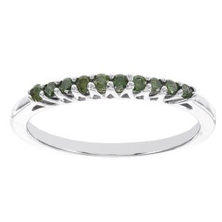 H Star Sterling Silver 1/5ct Green Diamond Stackable Ring