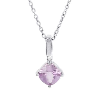 H Star 10k White Gold Created Pink Sapphire and Diamond Accent Necklace (H-I, I1-I2)