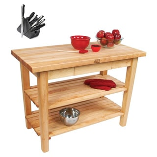 John Boos C01-D-2S 36x24 Country Maple Work Table with J. A. Henckels 13-piece Knife Block Set