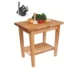 John Boos C01-S-TLR 36x24 Country Maple Table with Henckels 13-piece Knife Block Set