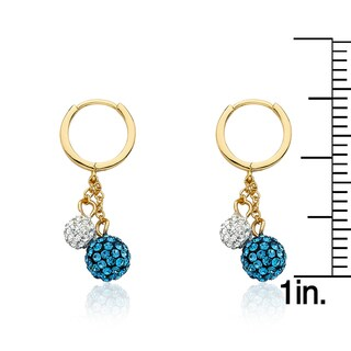 Molly Glitz 14k Goldplated Huggy Earring with Crystal Balls Lariat