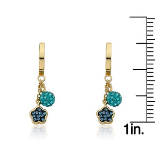 Molly Glitz 14k Goldplated Huggy Earring with Crystal Flower and Ball