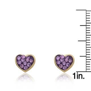 Molly Glitz 'Heart Of Jewels' 14k Goldplated Crystal Heart Stud Earring|https://ak1.ostkcdn.com/images/products/10666333/P17731531.jpg?impolicy=medium