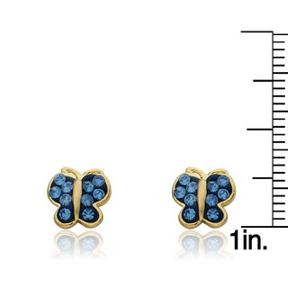 Molly Glitz 14k Goldplated Crystal Butterfly Stud Earring