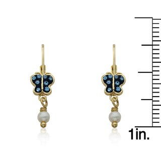 Molly Glitz Shine Bright 14k Goldplated Crystal Butterfly and Freshwater Pearl Dangle Leverback Earrings