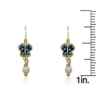 Molly Glitz Shine Bright 14k Goldplated Crystal Butterfly and Freshwater Pearl Dangle Leverback Earrings (3 options available)