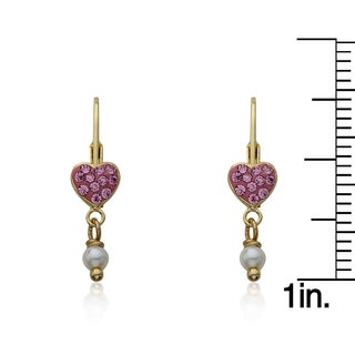 Molly Glitz 14k Goldplated with Different Crystal Heart and Freshwater Pearl Dangle Leverback Earring
