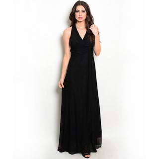 Shop the Trends Women's Sleeveless Halter Neck Gown