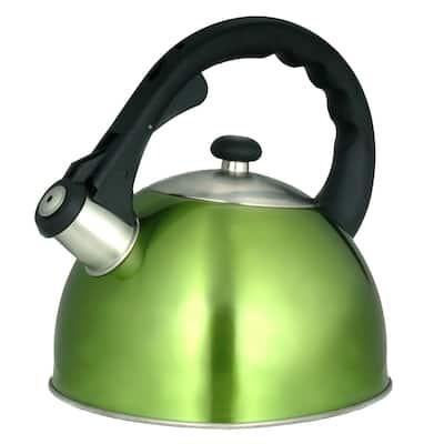 Creative Home Satin Splendor 2.8 Quart Stainless Steel Whistling Tea Kettle with Aluminum Capsulated Bottom, Metallic Chartreuse