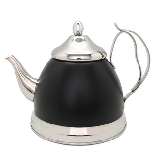 Creative Home Nobili-Tea 2.0 Qt Stainless Steel Tea Kettle/Tea Pot with Infuser Basket - Opaque Black