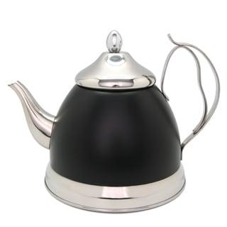 Creative Home Nobili-Tea 2.0 Qt Tea Kettle/Tea Pot w/Stainless Steel Infuser Basket - Opaque Black