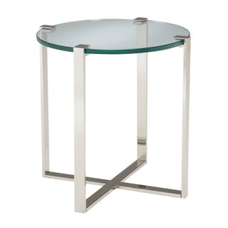 Uptown Glass Top Side Table - Silver