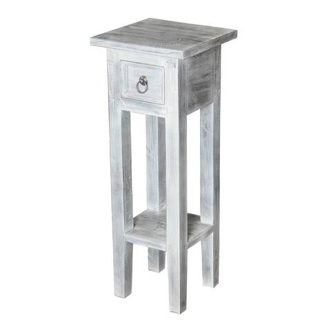 Shutter White Washed End Table