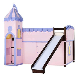 School House Junior Loft Chocolate with Slide & Princess Tent