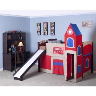 School House Chocolate Junior Loft w/ Slide & Firehouse Tent