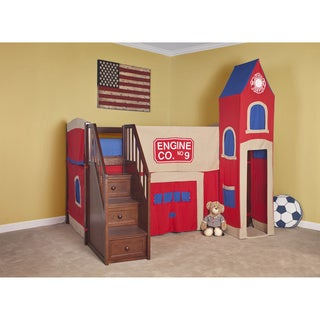 School House Junior Loft with Stairs & Firehouse Tent
