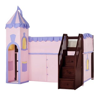 School House Junior Loft Cherry with Stairs & Princess Tent