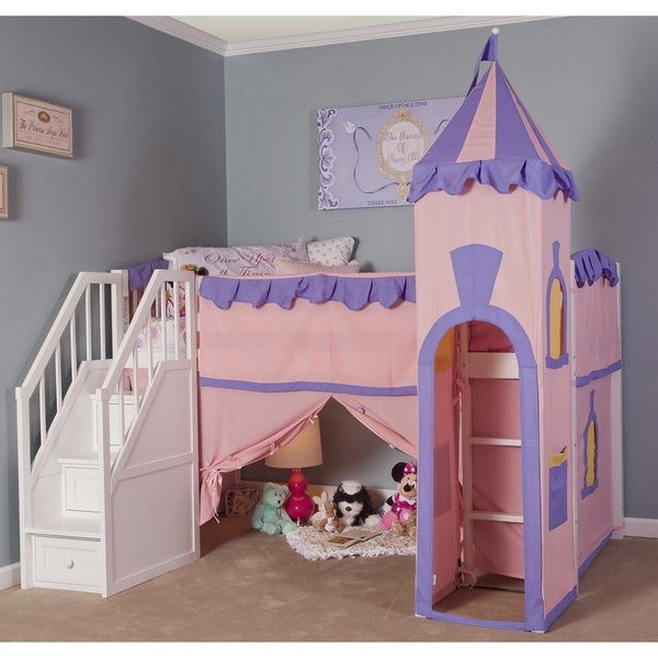 School House White Junior Princess Loft With Stairs Free Shipping Today 10668783