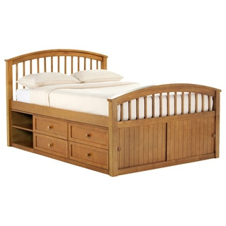 School House Pecan Full Captains Storage Bed