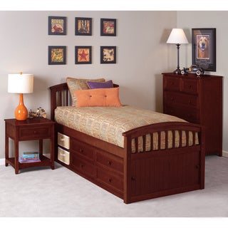 School House Cherry Captains Twin Storage Bed