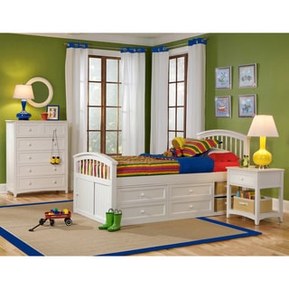 NE Kids School House 'Captains Storage' White Twin Bed