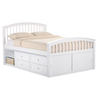 NE Kids School House White Full-sized Captains Storage Bed