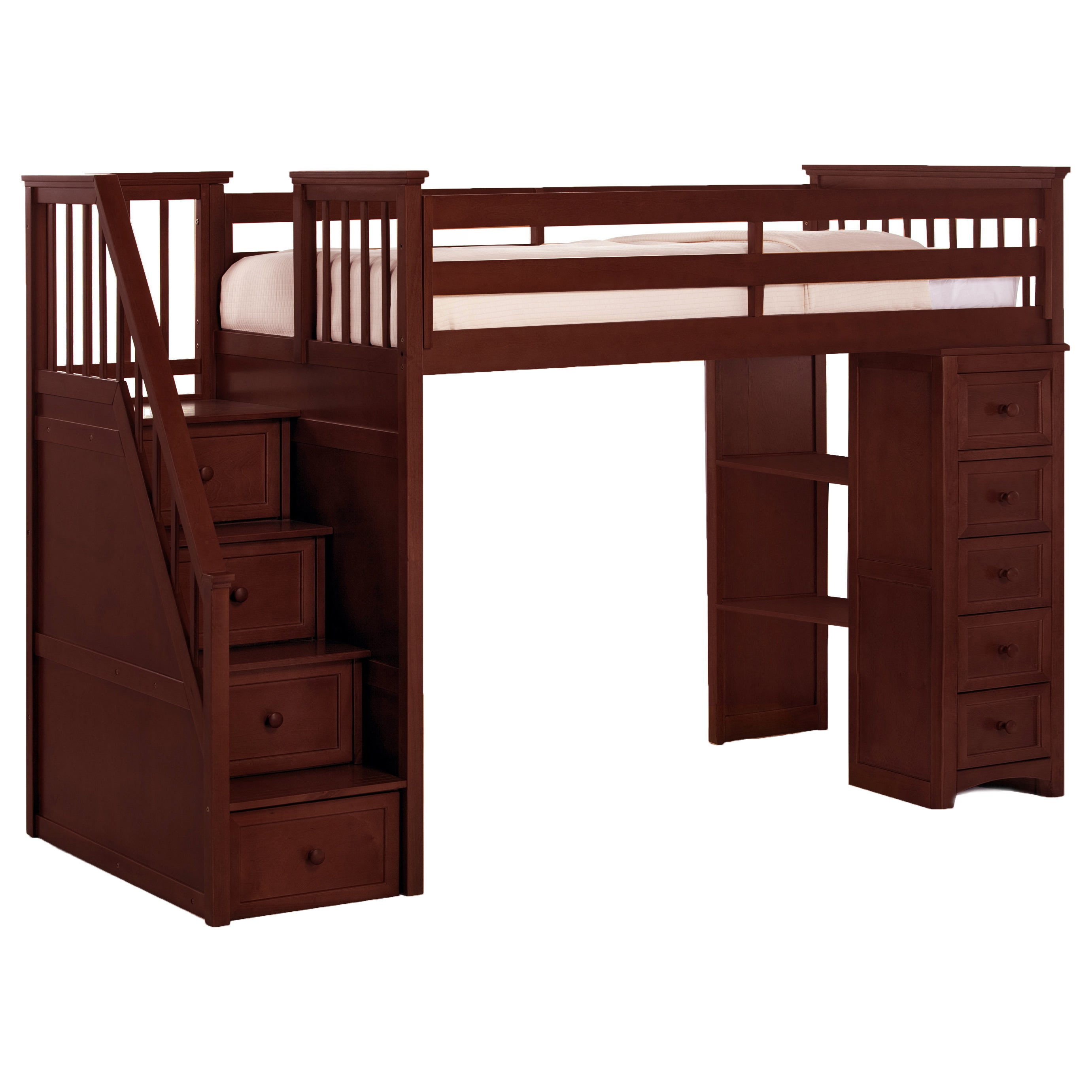 NE Kids School House Cherry Stair Loft with Chest End (St...