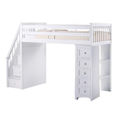 School House Stair Loft w/Chest End White