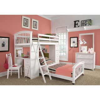 School House Student Loft White and Lower Twin Bed