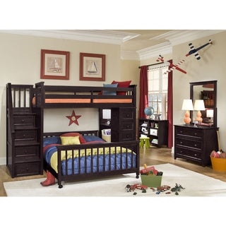 School House Chocolate Brown Stair Loft w/ Chest End & Twin Lower Bed