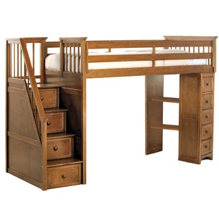 NE Kids School House Pecan Stair Loft with Chest End and Twin Lower Bed