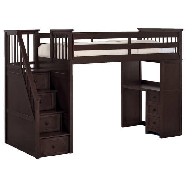 NE Kids School House Chocolate Brown Stair Loft with Desk End