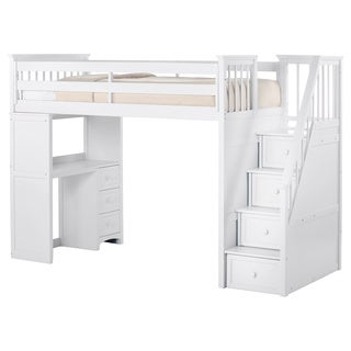 NE Kids School House Stair Loft with Desk End and Full Lower Bed White