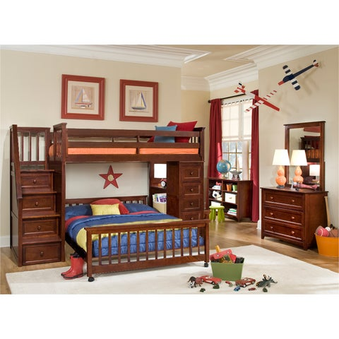 School House Cherry Stair Loft w/ Chest End & Full Lower Bed
