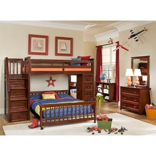 School House Cherry Stair Loft W/ Chest End U0026 Full Lower Bed