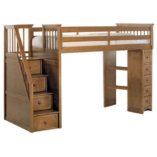 School House Pecan Stair Loft w/ Chest End & Full Lower Bed