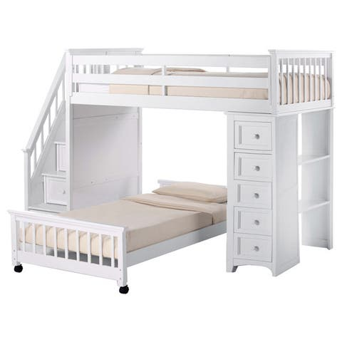 NE Kids School House White Stair Loft with Chest End and Full Lower Bed
