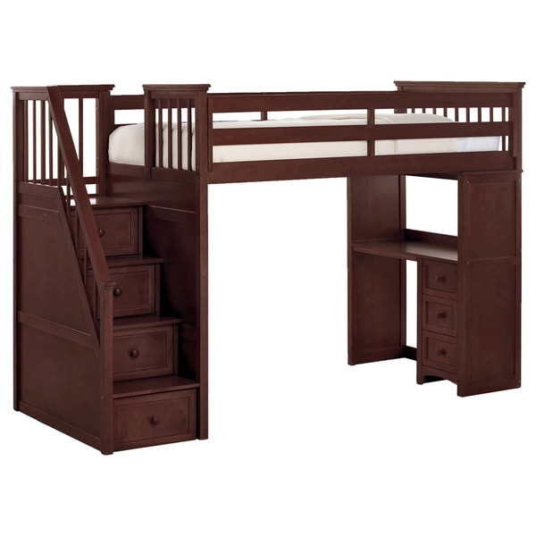 Shop School House Cherry Finish Stair Loft With Desk End