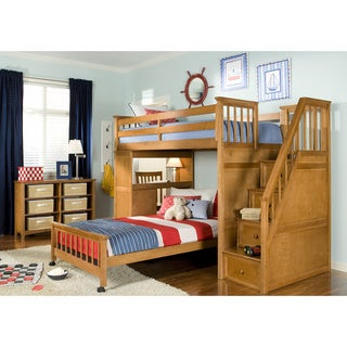School House Stair Loft with Desk End & Full Lower Bed Pecan