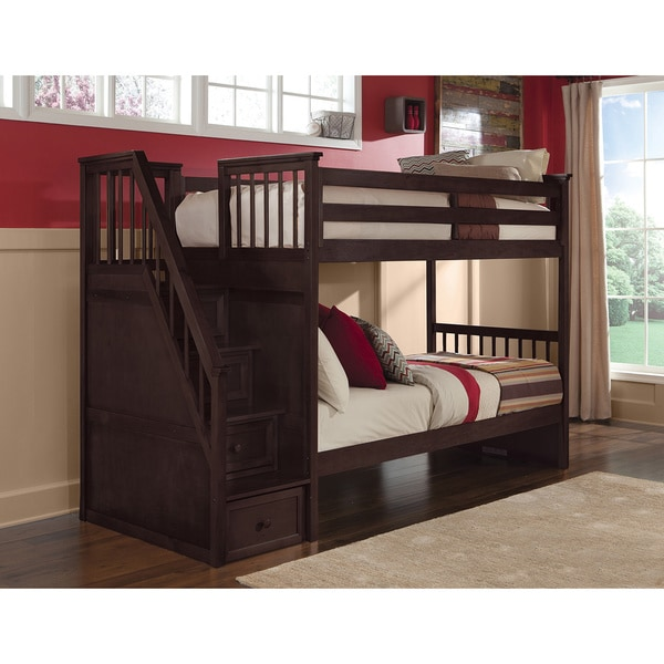 Shop NE Kids School House Chocolate Stair Bunk Bed