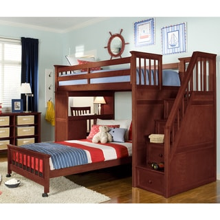 School House Cherry Stair Loft Desk End Twin Bed