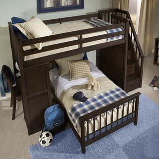 School House Stair Loft w/Desk End & Twin Lower Bed Chocolate