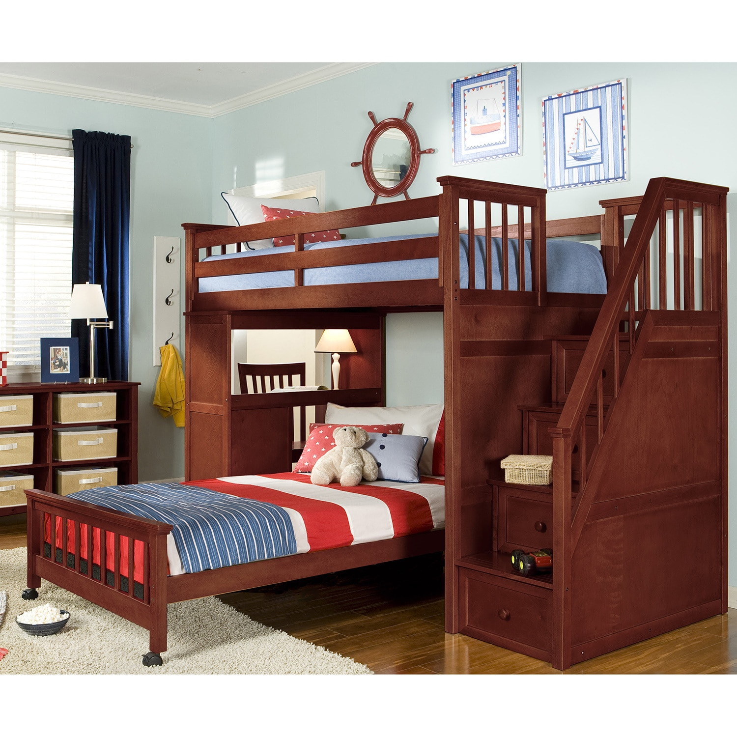 NE Kids School House Stair Loft with Desk End and Full Lo...